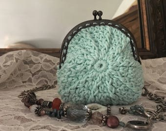 Crocheted Vintage Coin Purse Made to Order 100% Cotton Yarn