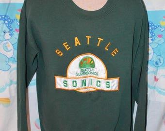 Vintage 1990's Seattle Supersonics Sweatshirt!!! Sonics NBA Basketball Crewneck!!!
