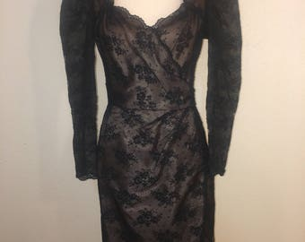 Victor Costa Black Lace Cocktail Dress