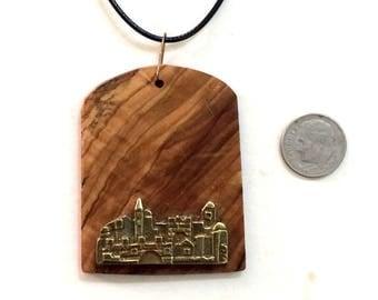 Bat Mitzvah  gift, Israel Olive wood pendant with Jerusalem souvenir Judaica Israel ירושלים P184