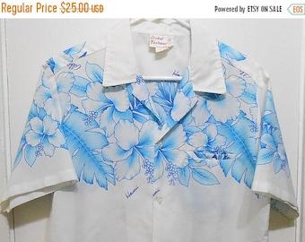 On Sale Vintage, Shirt, Menswear, Hawaiian, Tiki, Made in Hawaii, 1960s, 44 Chest, Hawaiian Shirt, Mens shirt, Luau, Party, Retro Print, Flo