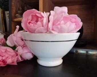 Cafe Au Lait - Romantic French Vintage Bowl - White porcelain - French Vintage Coffee Bowl - French Breakfast - Coffee