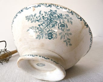 1880 Shabby Chic French Antique Salad Bowl -  Serving bowl - Shabby Ironstone - french ironstone