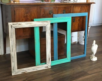 Large Custom Open Frame - Rustic Farmhouse Props - Wall Collection  Chunky Wood  - Shabby Chic Chippy &  Distressed