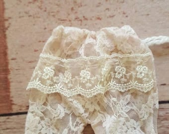 Newborn lace pants with trim Rts upcycked material ready for babies newborn photo shoot photoprop newborn photo shoot photoprop