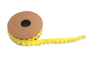 Yellow pom pom trim ball ribbon by the yard elastic trim haberdashery tassel ribbon polyester craft ribbon pom pom