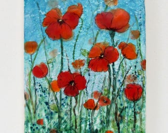 Original Encaustic Painting - Poppy Flowers - Red Orange Poppies - Textured - Poppy Art - Wildflowers - Beeswax Art - KLynnsArt