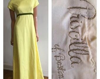 Vintage Pricilla Of Boston Bridesmaids Dress 1960's Bridesmaids Dress 60's Yellow Dress Summer Wedding Dress Yellow Dress Yellow Formal Sml