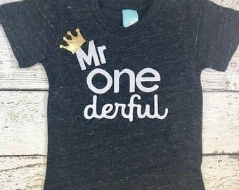 mr onederful shirt, Mr onederful party, one decor, Boy's birthday shirt, boys birthday outfit, gold birthday crown, boys shirt, birthday tee