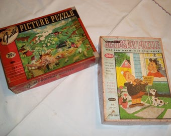 Jig saw puzzles, 2 Vintage Little LuLu Whitman 63 pc and Guild picture country farm scene 304 pc