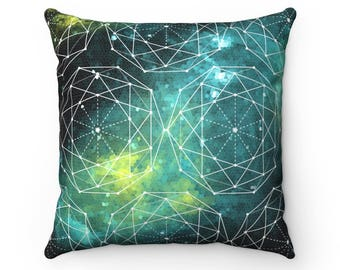 Great Wall Nebula Pillow, Sacred Geometry, Throw Pillow, Decorative Pillow, Outer Space Decor, Geometric Pattern, Blue Green Decor