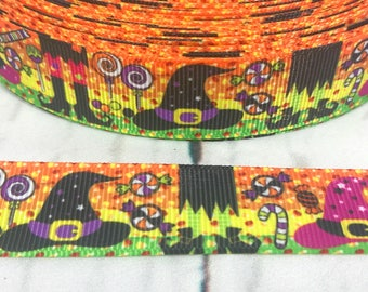 "7/8"", Halloween Ribbon, Witch Ribbon, Witch Hat, Candy Ribbon, Holiday Ribbon, Halloween Bow, Ribbon for Hair Bows, Hair Bow Supplies"