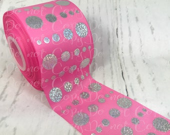 """3"""", Cheer Ribbon, Persian Pink Ribbon, Silver Foil, Gradual Dots, US Designer Ribbon, Ribbon for Cheer Bows, Hair Bow Ribbon, Cheer Bows"""