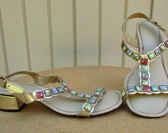 vintage 60s gold metallic stone studded t strap sandals 7.5 fancy gladiator sandals  vegan