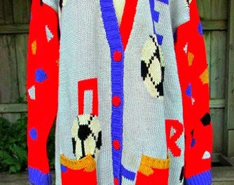 vintage 80s soccer cardigan sweater L B44 colorful novelty sweater  decoration on both sides