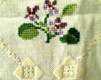 Charming Hand Embroidered Tablecloth with Violets