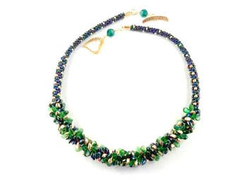 BLUE and GREEN BEADED Handmade, Kumhimo Necklace with Gold Seed Beads and Gold Heart Clasp
