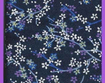 Calico Floral FAT Quarter Cotton Fabric Navy Blue White Purple 18 x 22 Inch
