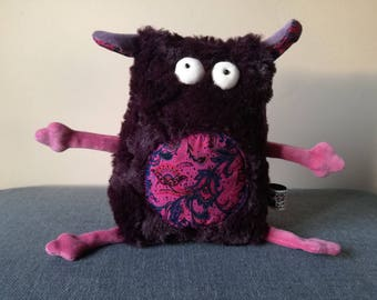 Furry Muma Purple Monster Plushie, Little Pocket Fur Monster Stuffie Toy, Funny Pocket Plush, OOAK Ready to Ship item