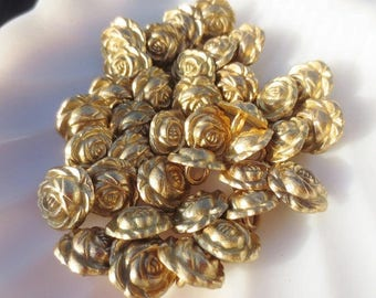"""Gold Metal Flower Buttons 5/8"""" Shank Roses 16mm-24 pieces"""