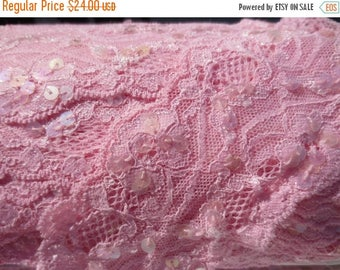 30% OFF SALE Pink Lace Sequin Trim Wide 12 yards Pastel Shabby Chic DIY Sewing Supplies