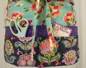 Teacher Aprons-Crafter Vendor Utility Apron-Amy Butler's Folk Bloom
