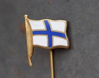 Finland Flag Tie Pin - Finnish siniristilippu Stick Pin - Enamel on Brass - Souvenir Lapel Pin