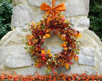 Fall Door Wreath - Autumn Berry Wreath - Orange Berry Wreath - You Choose Bow