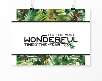Most Wonderful Time of the Year sign | modern Christmas decor | tropical Christmas decor | tropical holiday decor | Most Wonderful Time art