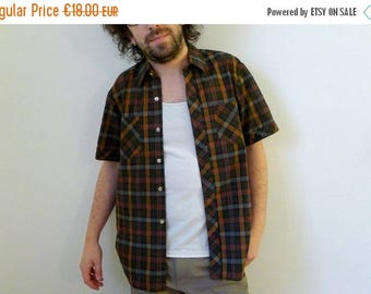 50%DISCOUNT 70s kaki green brown short sleeved plaid fitted shirt 40 M