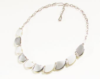 Two Tone Silver Gray Thermoset Necklace signed Coro 1960s