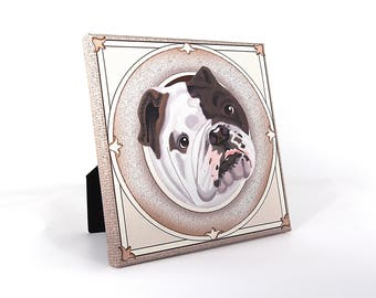 "English Bulldog Art Print on Canvas - Brindle Brown and White - English Bulldog Art - Bulldog in a Frame - 8"" x 8"""