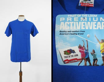 Vintage 80s NOS Pocket T-shirt Fruit of the Loom Blue Deadstock Made in USA - Large