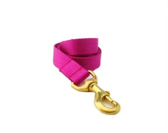 Fuchsia Dog Leash, Pink Dog Leash, Solid Nylon Dog Leash, Available in other colors