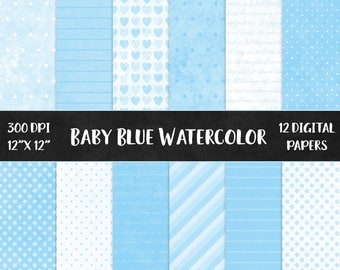 12 Baby blue watercolor digital papers, pale blue scapbook papers, baby shower papers, blue pattern papers, blue polka dot DIGITAL DOWNLOAD