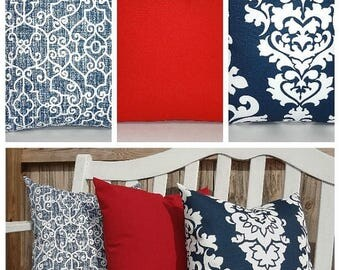 FALL is COMING SALE Outdoor Pillow Cover Navy Blue Damask Solid Red Pillow Cover Deck Patio Pillow Cover Choose Size