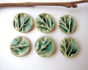Green Tree Branch Charms (6) Stoneware Clay