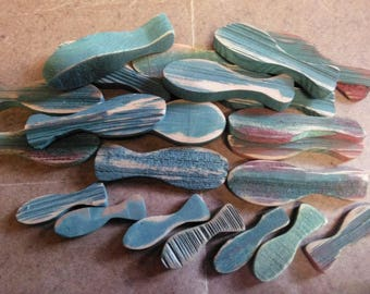 22 Wooden Rustic Green Fish Crafts Re-purpose Stringers Garlands Wreaths Mobiles Lot