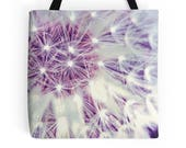 Dandelion lavender tote bag, texture Tote bag, abstract pattern Tote Bag white lavender Tote Bag, minimalist plants seeds, botanical tote