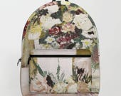 Floral romantic backpack, Peach pink green Backpack, rose gold, roses, Valentines gift for her, laptop bag flower print, art on your back