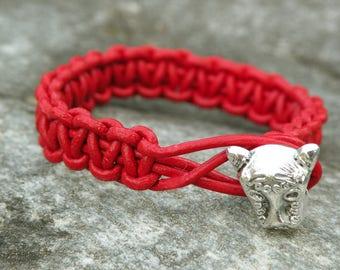 genuine leather bracelet braided