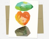 Rock Lion Leaf - One Folded Greeting Card with Matching Envelope & Seal