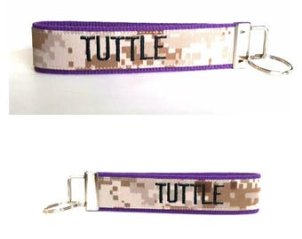 Purple and Black Marpat Personalized Nametape Keyfob