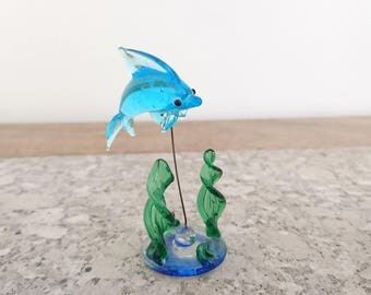 Vintage Blown Glass Dolphin Ornament - Under the Sea.