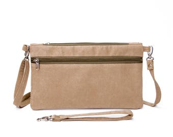 Small crossbody bag purse  for holding smartphone,wristlet wallet clutch purse bag in  camel  ,Travel wallet,cash, credit cards, coins,