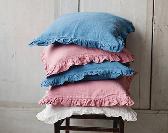 Blue Linen Pillowcase 40x60cm, Pillowcase with ruffles, Bedding, Linen for Home