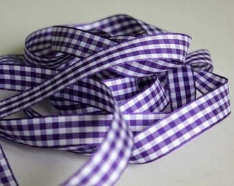 "3/8"" Gingham Ribbon - Purple and White - 3 yards"