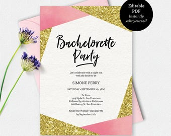 Bachelorette party invitation, gold glitter Invitation, Hen's party, Girls night out, printable invitation, Bachelorette invite