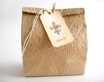 Merci Fleur de Lys Tags, Vintage Style Wedding Tags, French Thank You Tags, Favor Tags, Étiquettes Cadeaux Merci Fleur de Lis