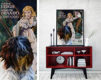Schapendoes Art Vintage Poster Movie Style Canvas Print   - A Streetcar Named Desire NEW Collection by Nobility Dogs